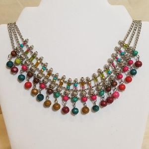 Silver Cleopatra beaded style necklace